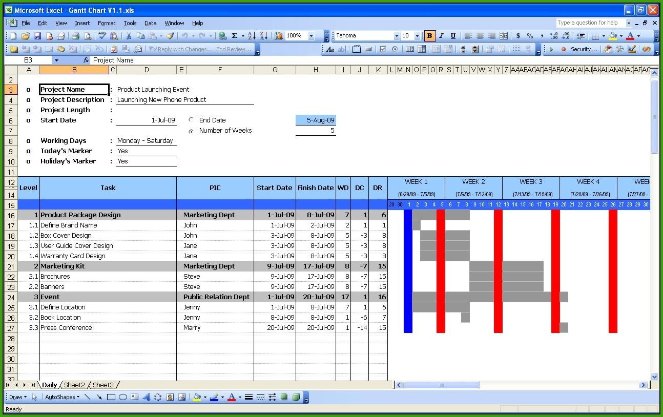 Gantt Chart Construction Template Excel