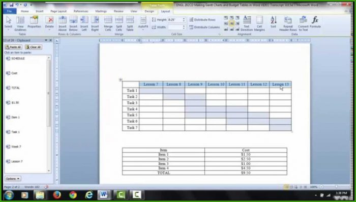 Gantt Chart Template For Word
