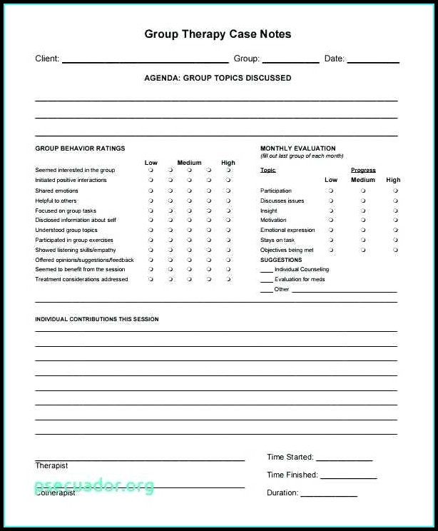 Psychotherapy Progress Note Template Templates 1 Resume Examples