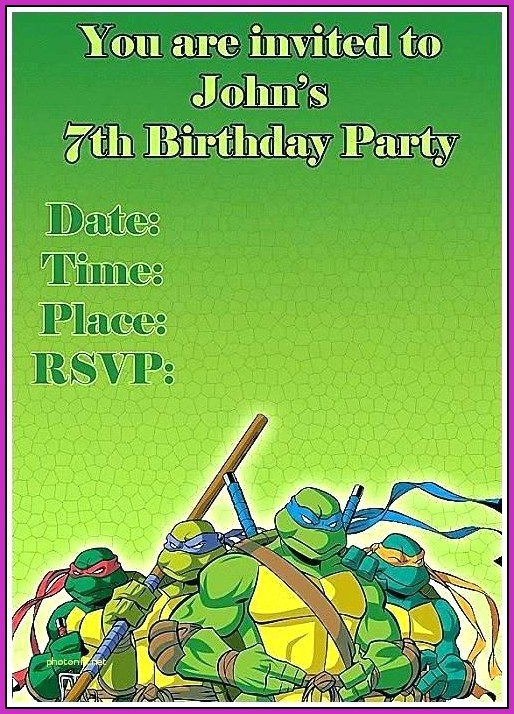 Ninja Turtles Birthday Invitation Templates