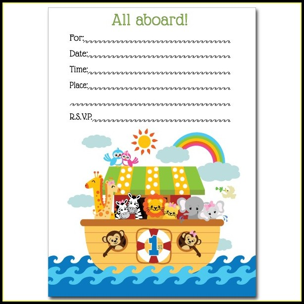 Noah S Ark Baby Shower Invitation Template