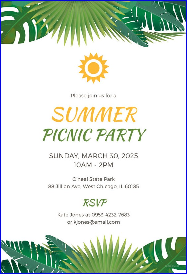 Picnic Themed Invitation Template