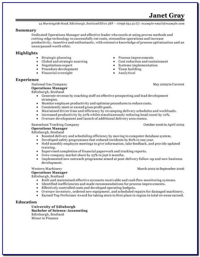 Professional Cv Template For Operations Manager