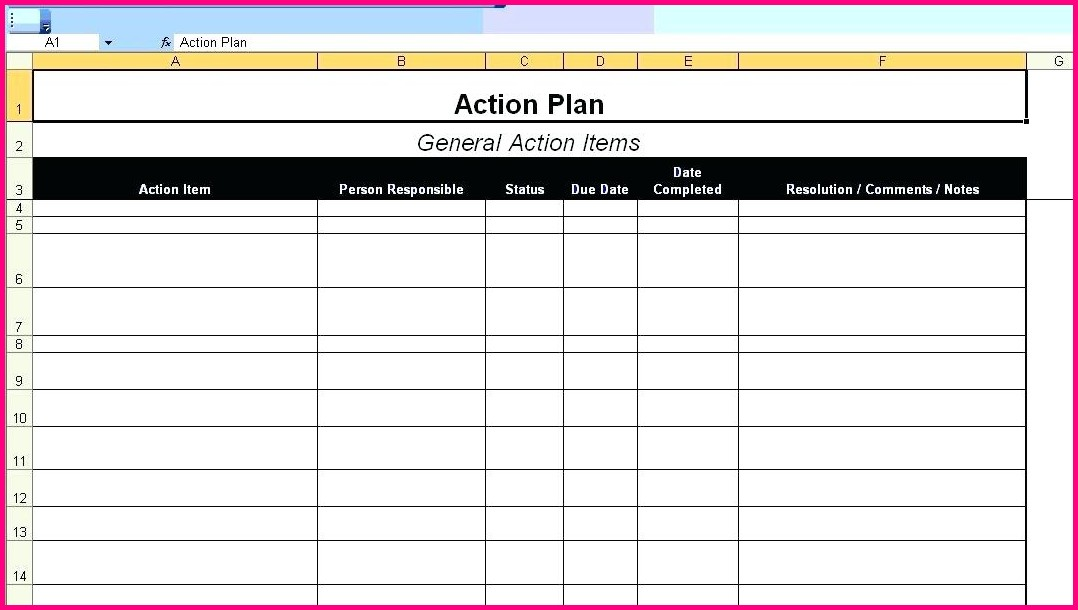 Project Management Action Plan Template Excel