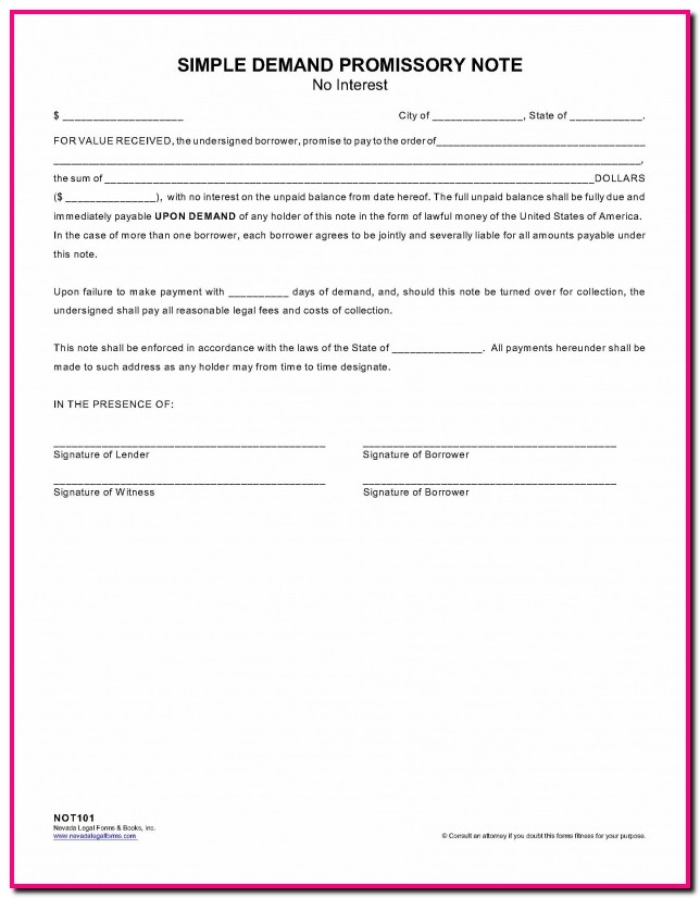 Promissory Note Demand Form