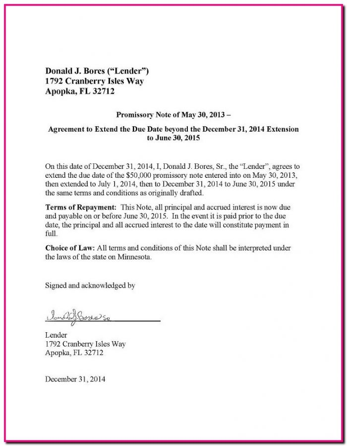Promissory Note Extension Form