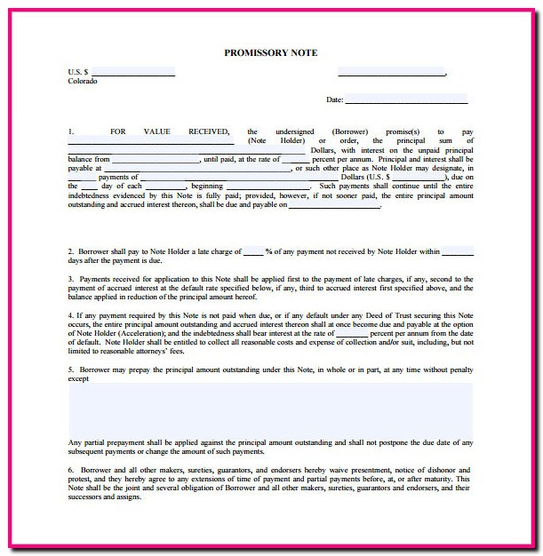 Promissory Note Form New York