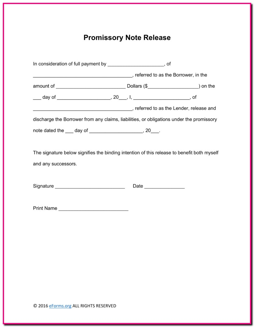 Promissory Note Release Template