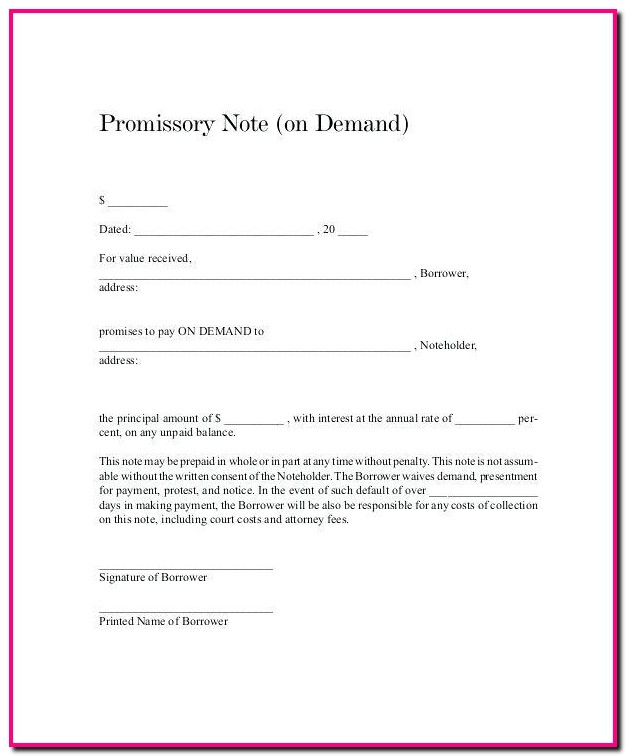 Promissory Note Template For Tuition Fee