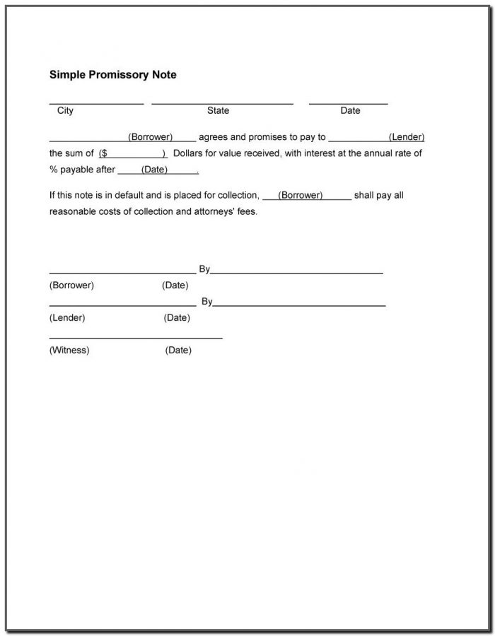 Promissory Note Template For Word