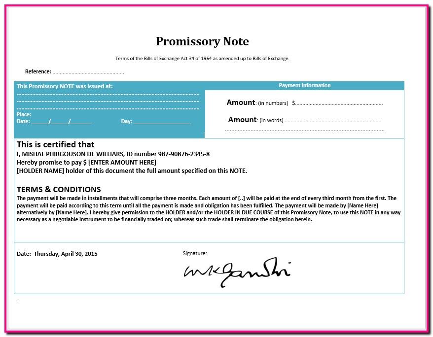 Promissory Note Template Microsoft Word