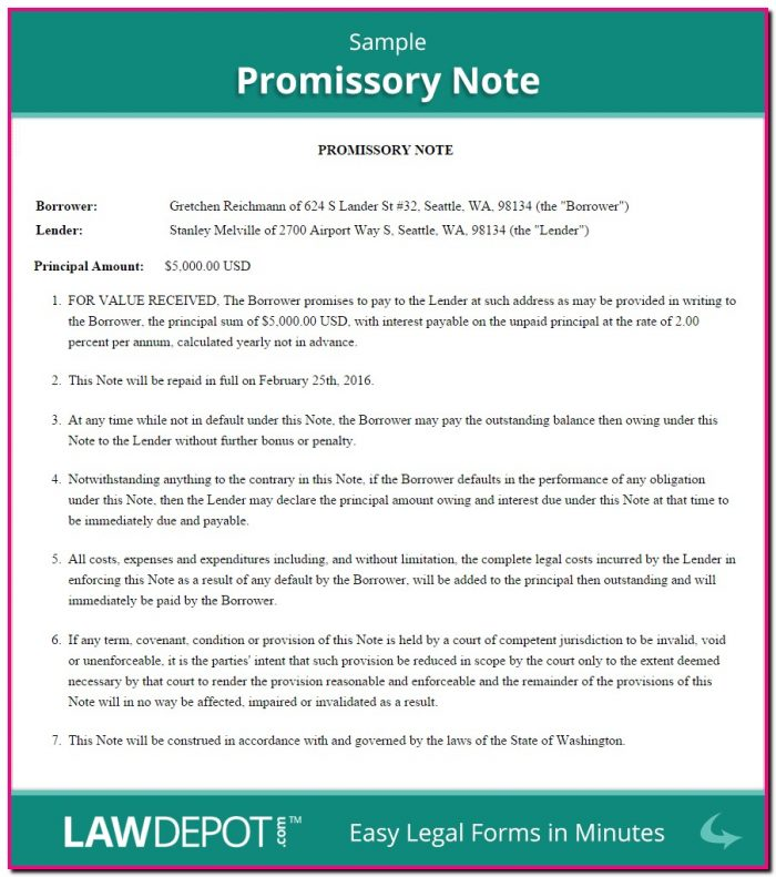 Promissory Note Template Usa