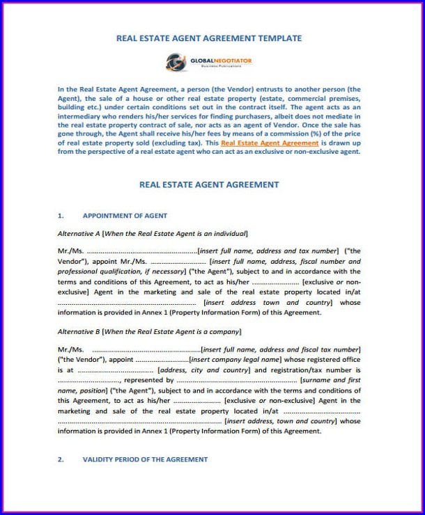 Real Estate Agent Contract Template