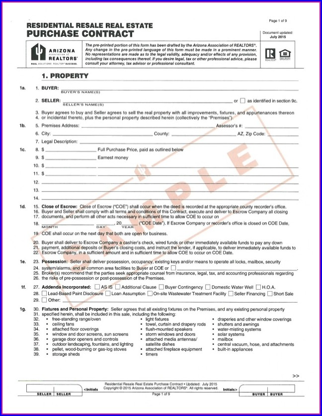 Real Estate Agreement Of Sale Template