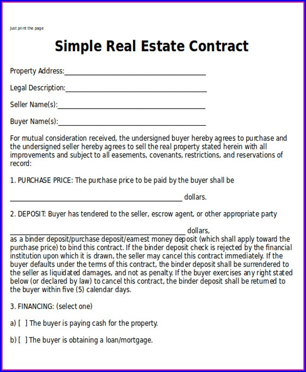 Real Estate Contract Template Free