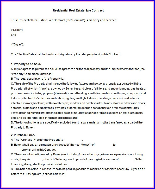 Real Estate For Sale By Owner Contract Template