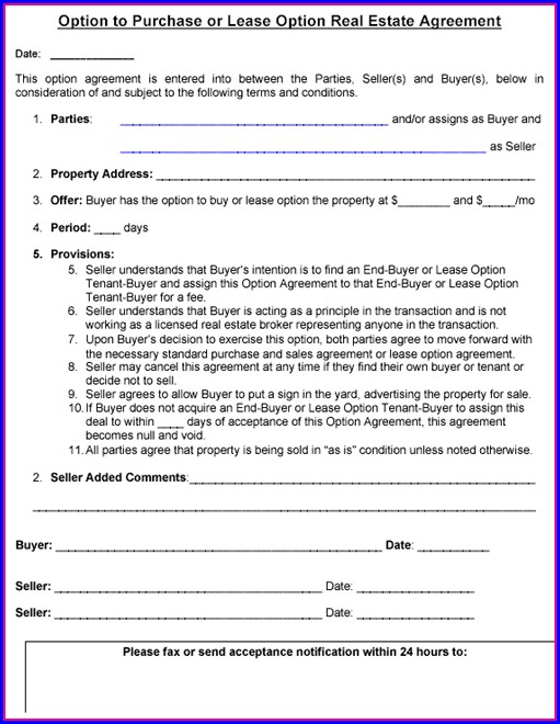 Real Estate Option Contract Template