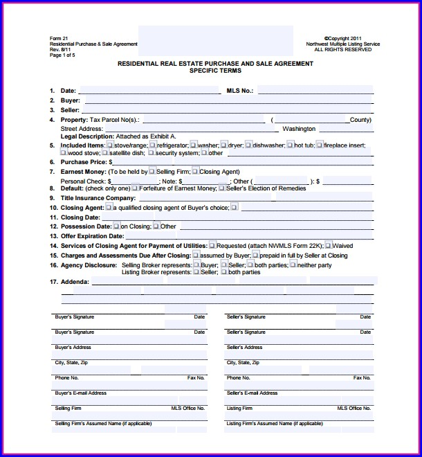 Real Estate Purchase Agreement Template Indiana Templates 1 Resume