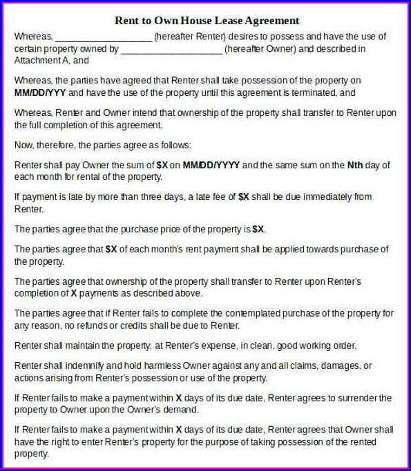 Rent To Own Real Estate Contract Template