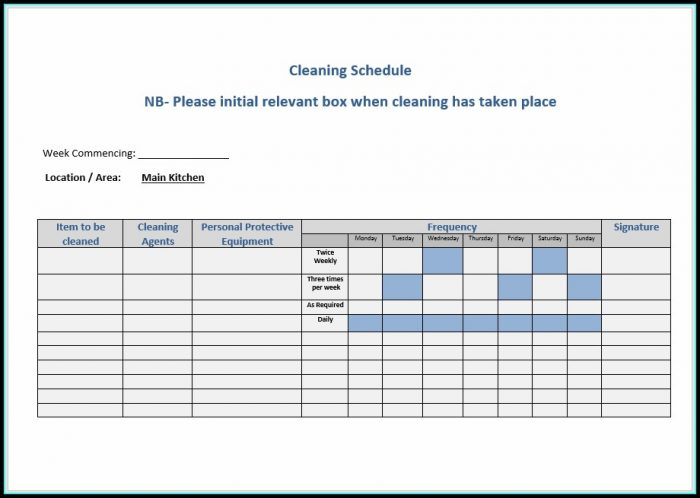 Rotating Cleaning Schedule Template
