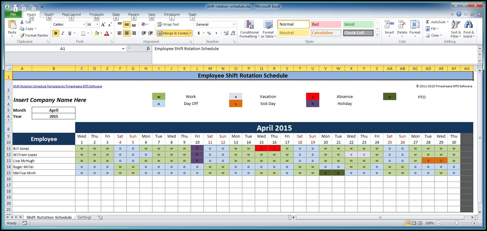 Rotating Schedule Template Excel