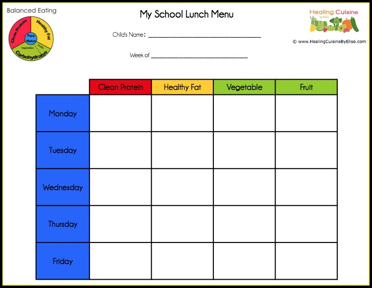 school lunch menu template free templates 1 resume examples