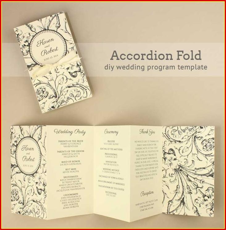 Scroll Wedding Program Templates Free