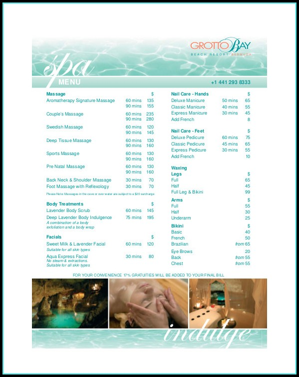 Spa Menu Template Free