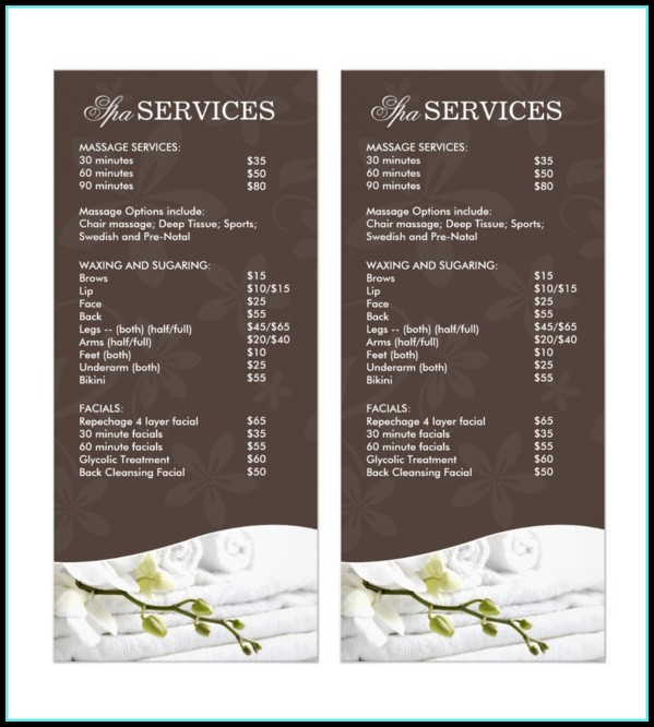 Spa Menu Template