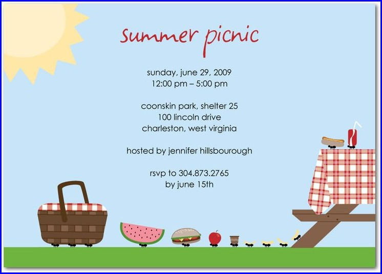 Summer Picnic Invitation Template Templates 1 Resume Examples