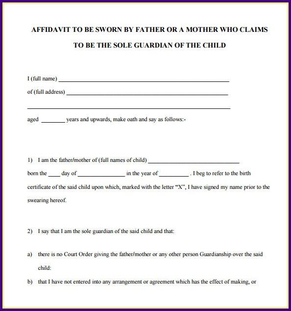 Sworn Affidavit Template Word