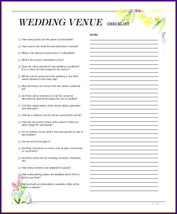 Wedding Reception Checklist Template