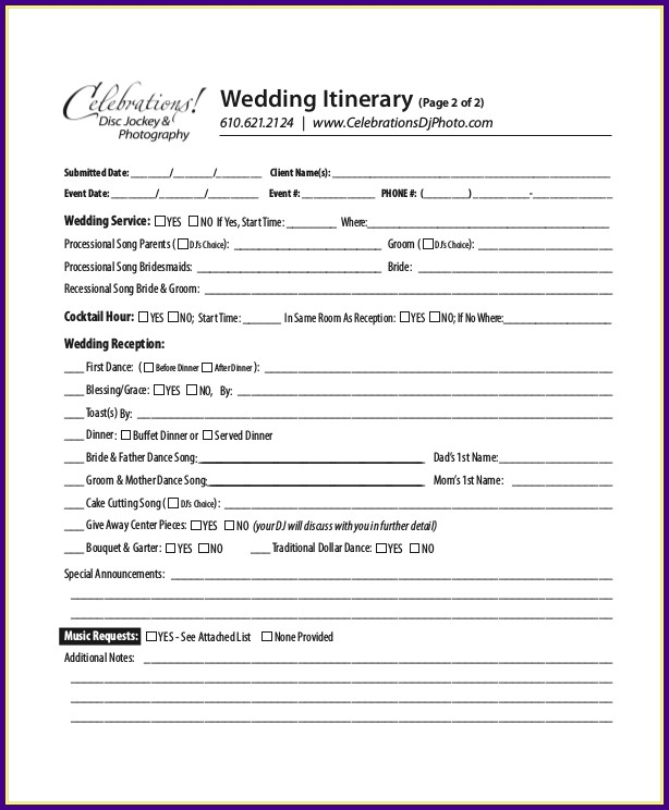 Wedding Reception Itinerary Sample
