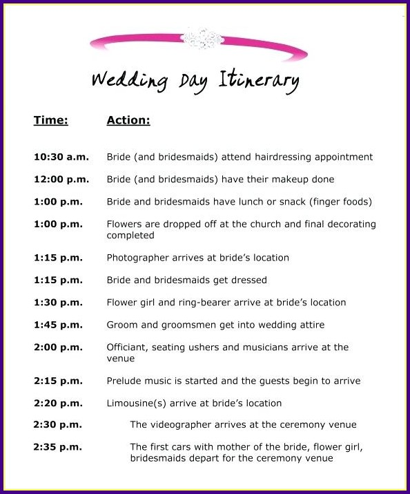 Wedding Reception Schedule Of Events Template