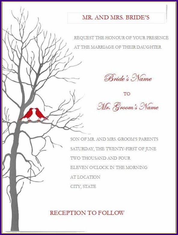 Wedding Reception Templates For Microsoft Word