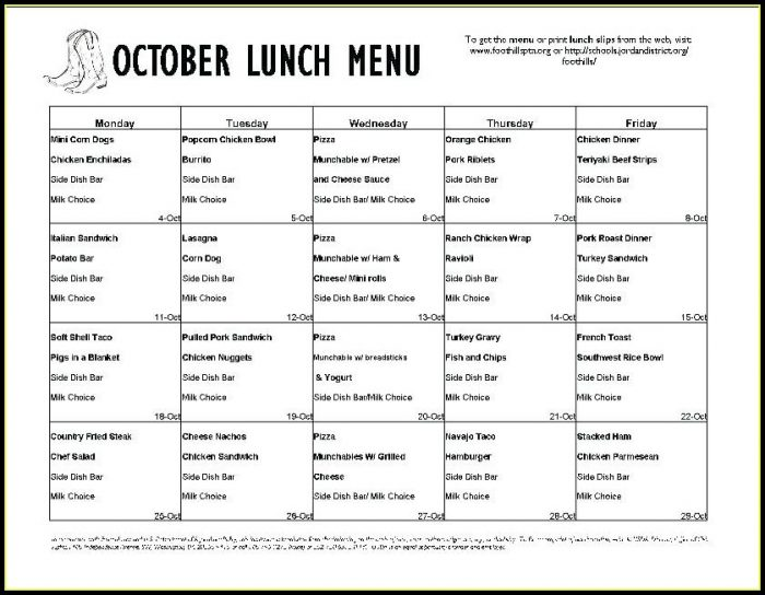 Weekly School Lunch Menu Template