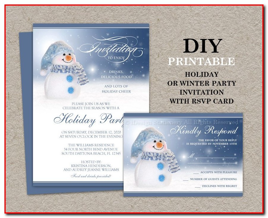 Christmas Party Invitations With Rsvp Cards