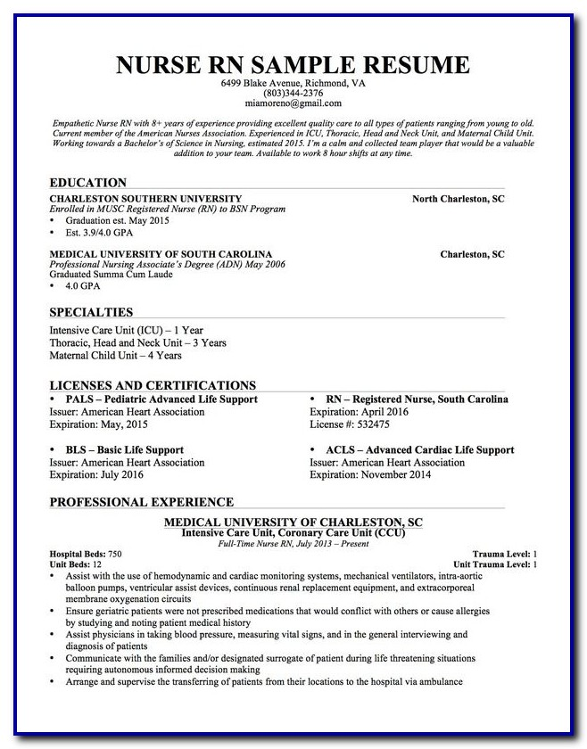 Experienced Nursing Resume Template