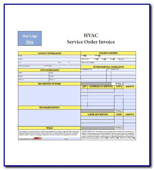 Free Printable Hvac Invoice Template