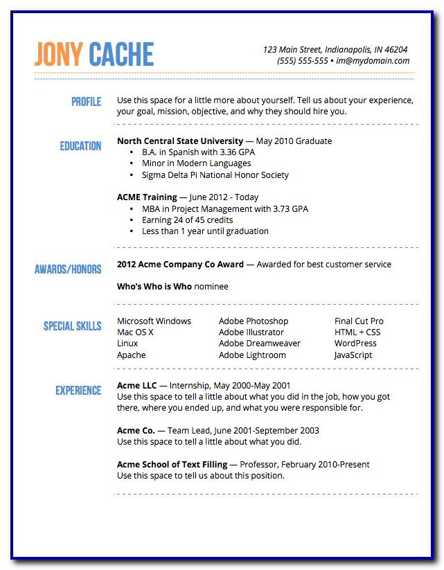 Free Resume Templates Microsoft Word Mac