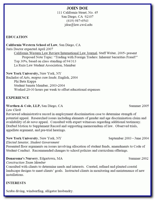 Nursing School Resume Template
