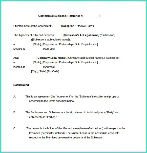 Commercial Sublease Agreement Template Word