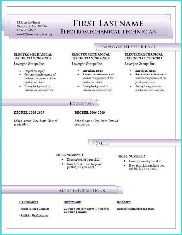 Download Resume Templates Microsoft Word