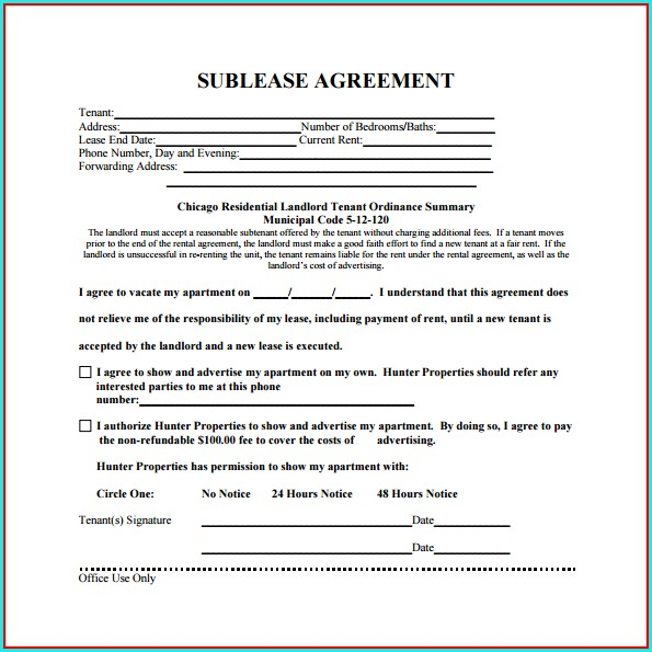 Free Sublease Agreement Template Ontario