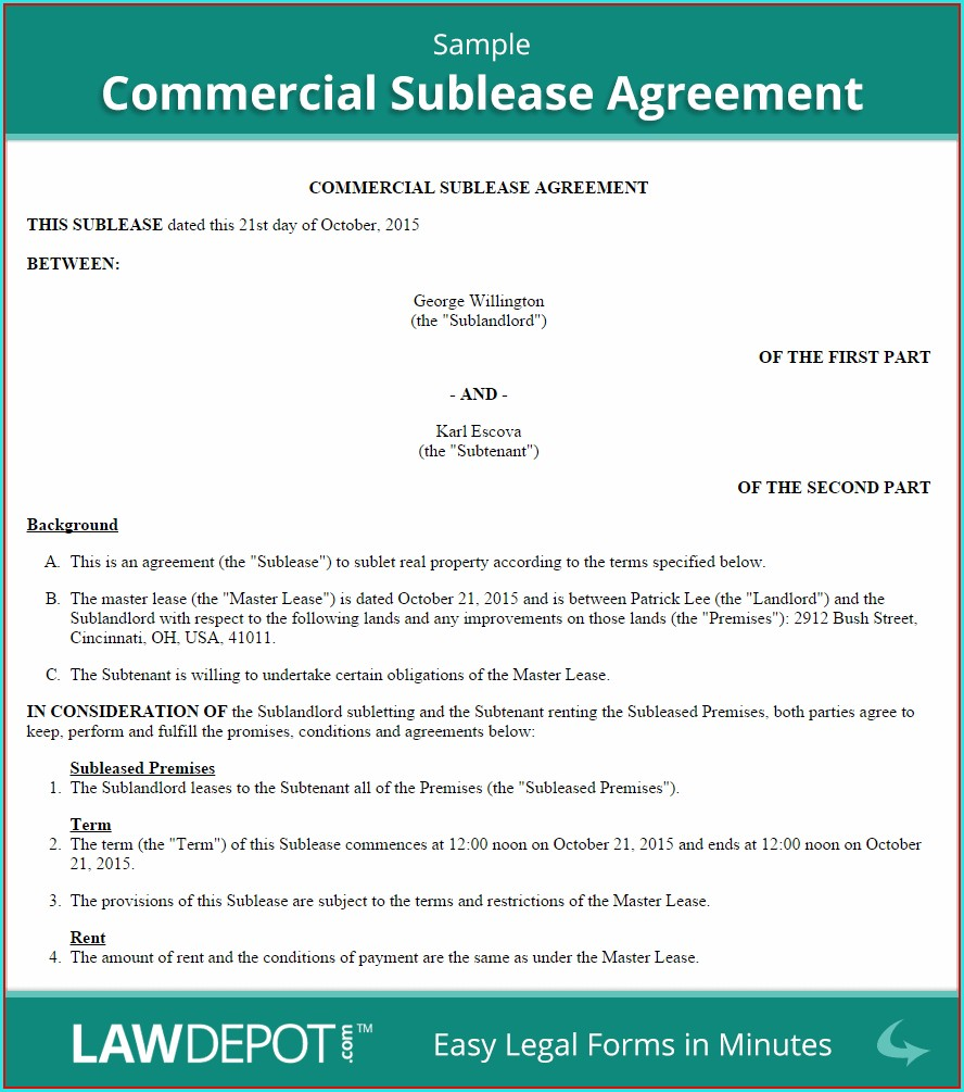 Office Sublease Agreement Template
