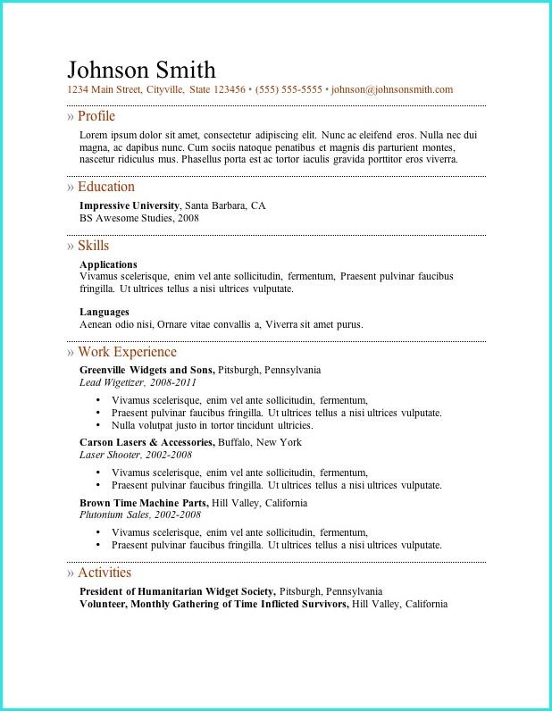 Resume Templates No Download