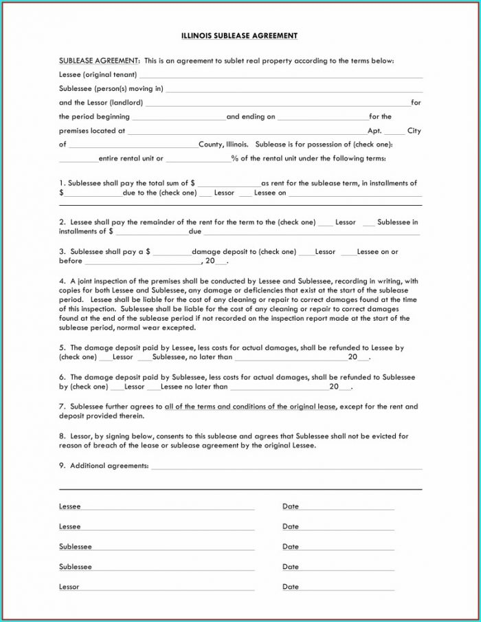 Sublease Agreement Chicago Template