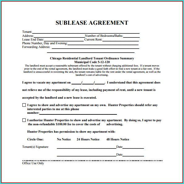Sublease Agreement Template Free Uk