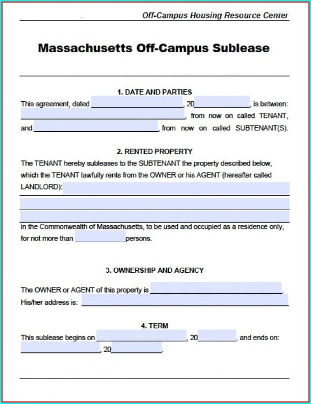 Sublease Agreement Template Massachusetts