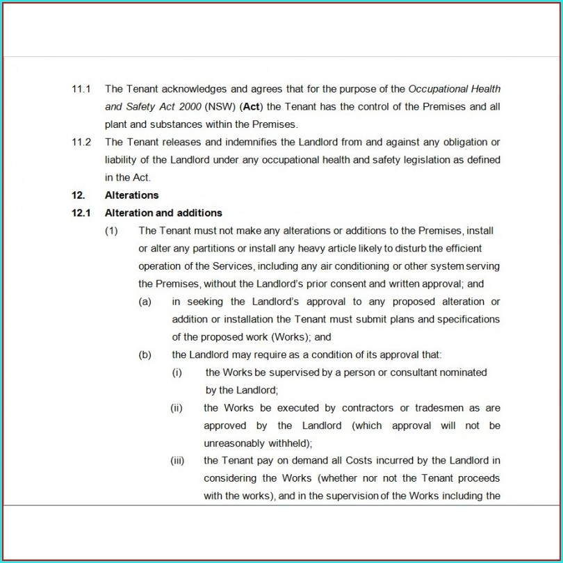 Sublease Agreement Template Nsw